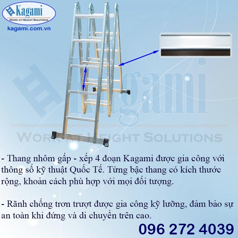 Bậc thang nhôm gấp xếp khúc chữ M chân thanh ngang Kagami KT -57M (5.7m)