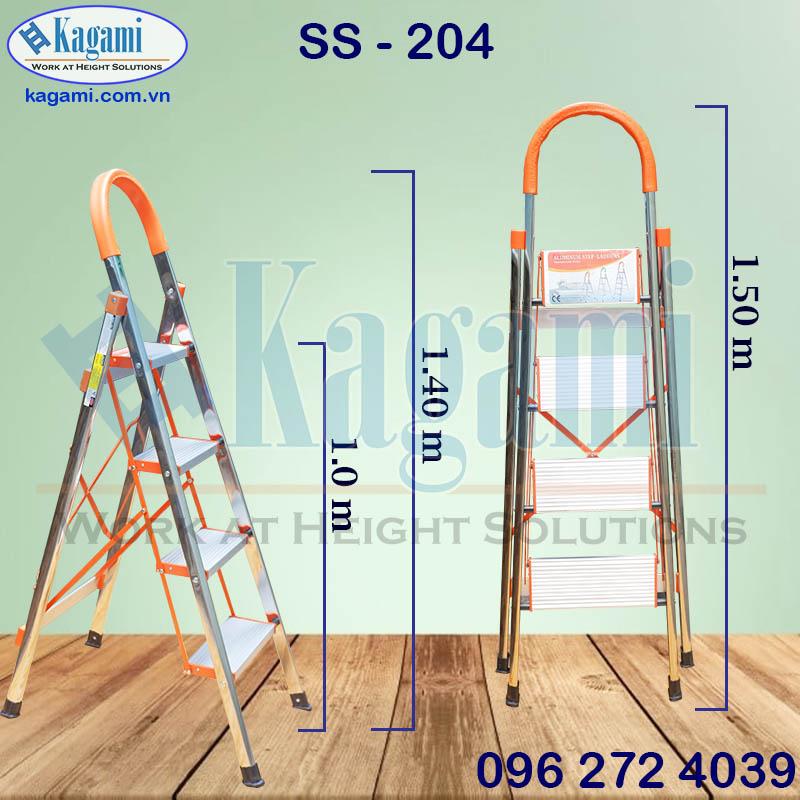 Thông số kỹ thuật thang nhôm ghế tay vịn 4 bậc 1m Kagami SS -204 thân inox bảng nhôm