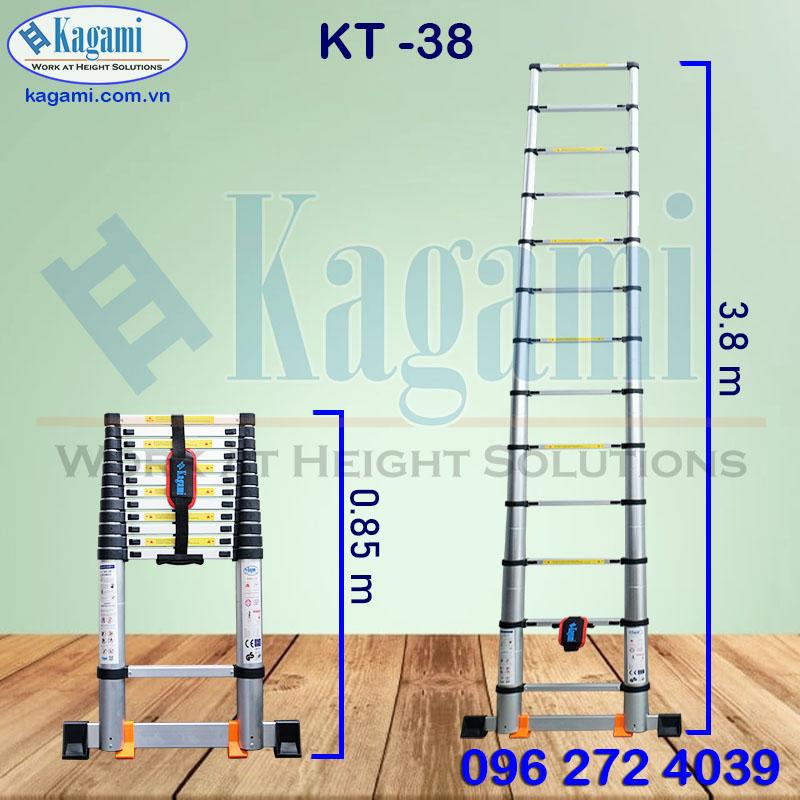 Thông số kỹ thuật thang nhôm rút gọn đơn Kagami Nhật Bản KT -38 cao 3m8