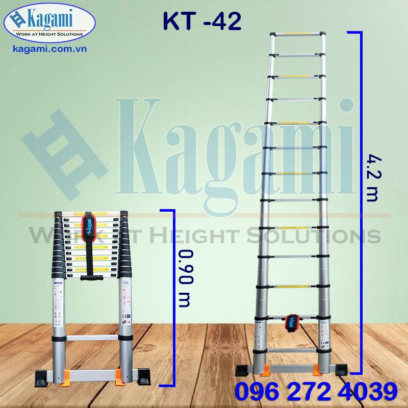 Thông số kỹ thuật thang nhôm rút đơn Kagami Nhật Bản KT -42 ( cao 4m2)