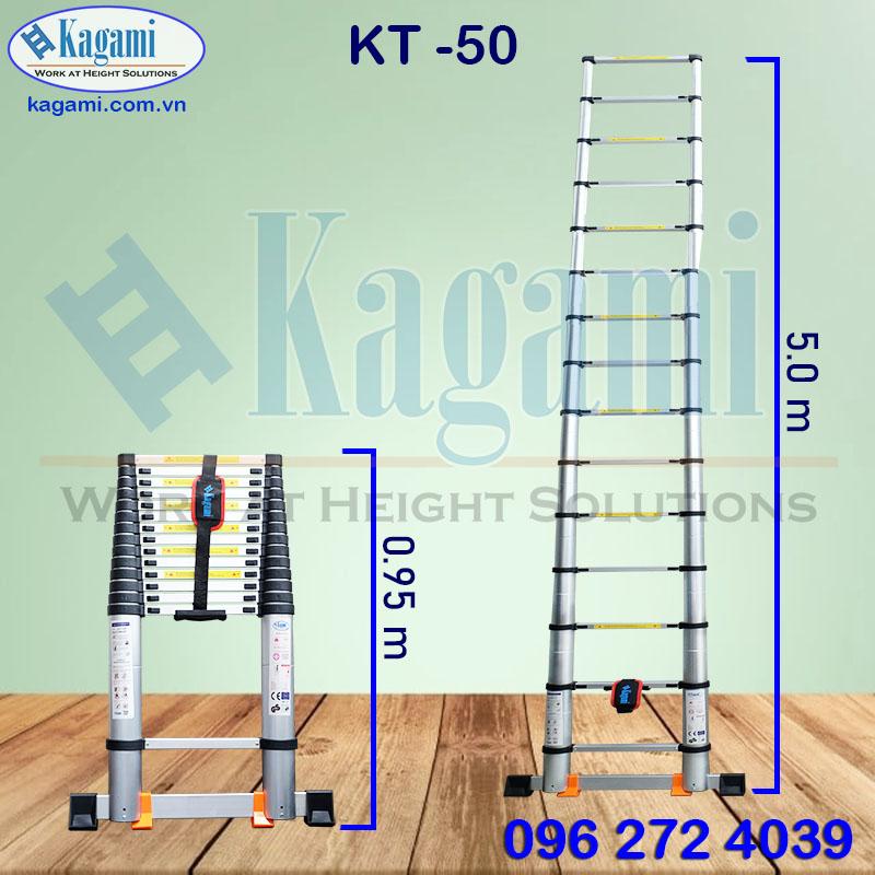 Thông số kỹ thuật thang nhôm rút gọn đơn 5m Nhật Bản Kagami KT -50 chuyên dụng
