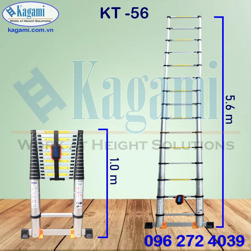 Thông số kỹ thuật thang nhôm rút gọn đơn 5m6 Kagami Nhật Bản KT -56