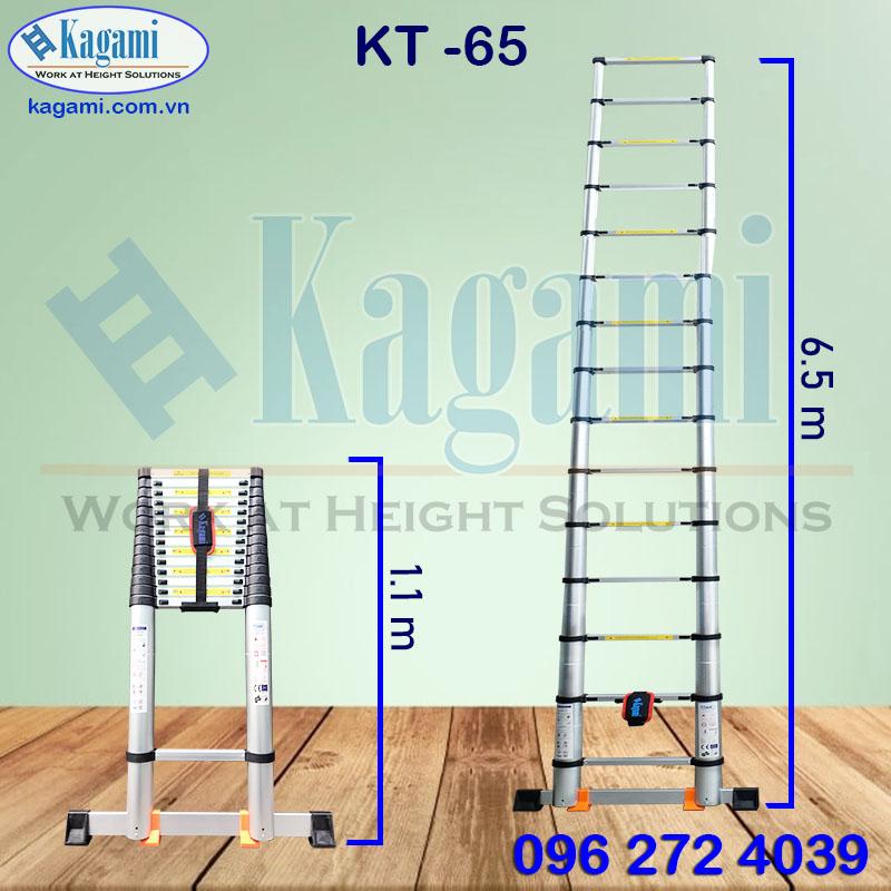 Thông số kỹ thuật thang nhôm rút đơn 6m5 Kagami KT -65 công nghệ Nhật Bản