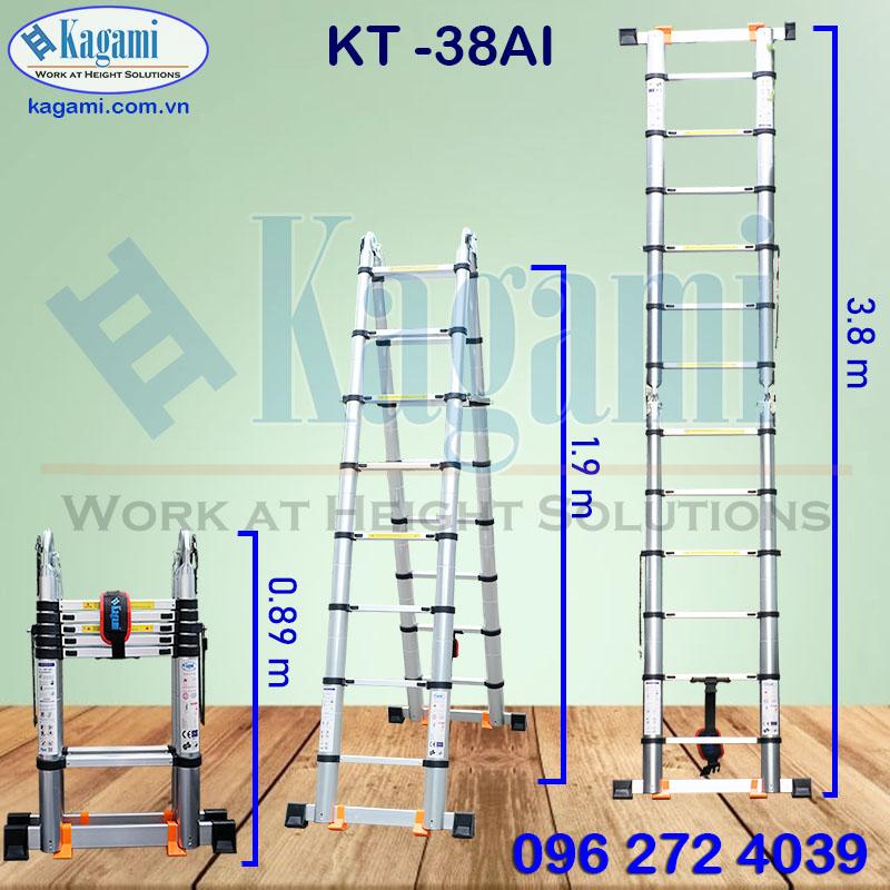 Thông số kỹ thuật thang nhôm rút đôi Kagami KT -38AI (chữ A 1m9, I =3m8)