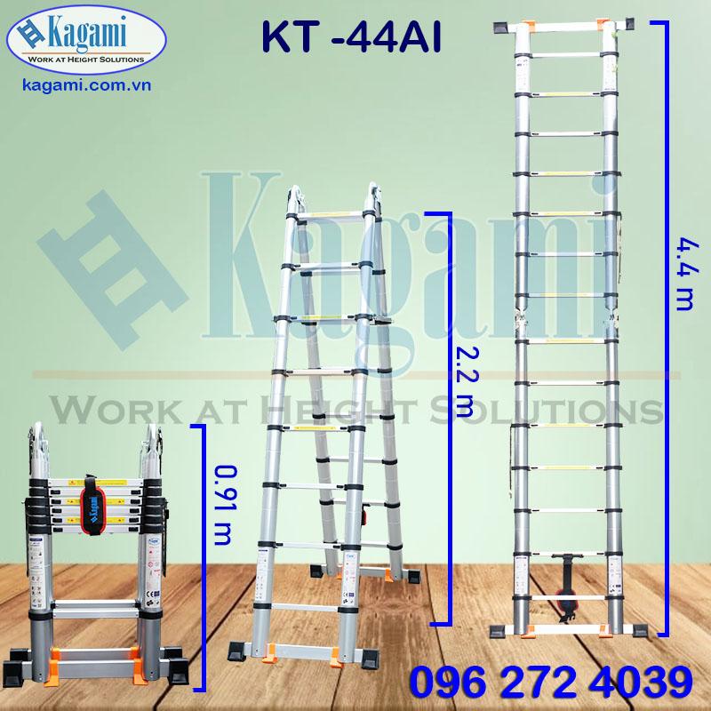 Thông số kỹ thuật thang nhôm rút đôi chữ A 2m2 Kagami KT -44AI (4m4) đa năng