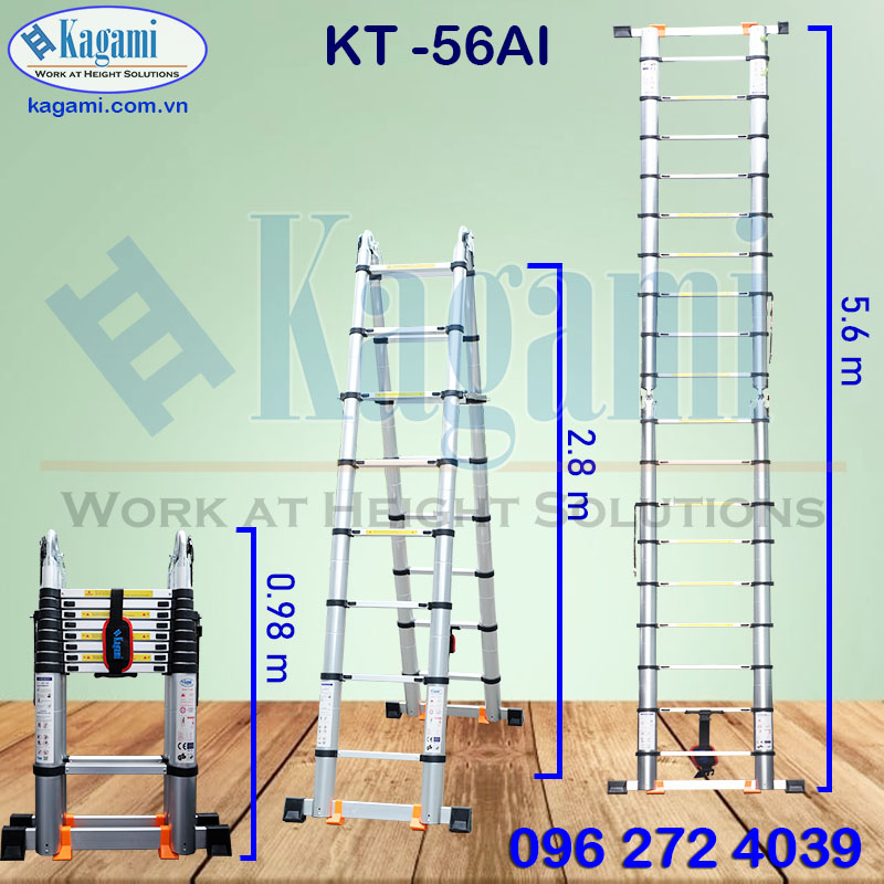 Thông số kỹ thuật thang nhôm rút gọn đôi chữ A 2m8 Kagami Nhật Bản KT -56AI (5m6)