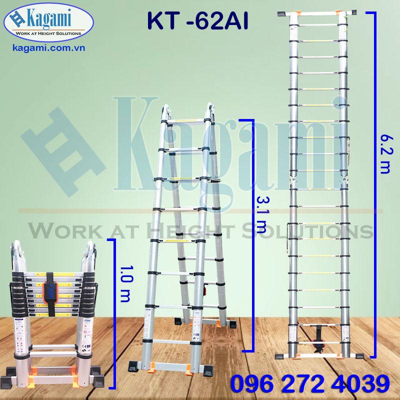 Thông số kỹ thuật thang nhôm rút gọn đôi chữ A 3m1 Kagami KT -62AI (6m2) đa năng
