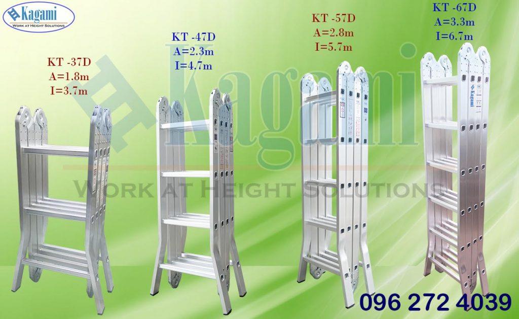 Phân loại các dòng thang nhôm gấp xếp 4 đoạn Kagami nhập khẩu nguyên chiếc