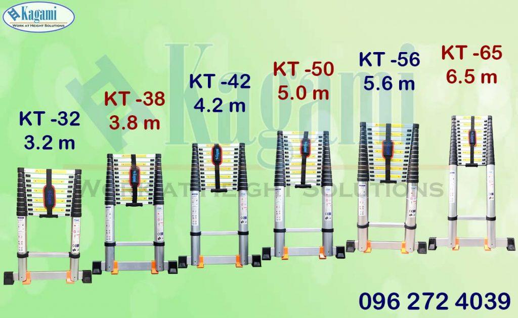 thang nhôm rút đơn Kagami đa dạng từ: 3.2m, 3.8m, 4.2m, 5.0m, 5.6m, 6.5m