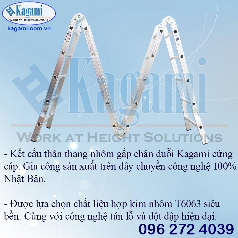 Thân thang nhôm gấp xếp 4 đoạn 5,7m Kagami KT -57D chân duỗi đa năng