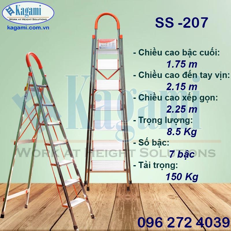 Điểm nỗi bậc thang nhôm ghế tay vịn Inox 7 bậc 1m75 Kagami SS -207 công nghệ Nhật Bản