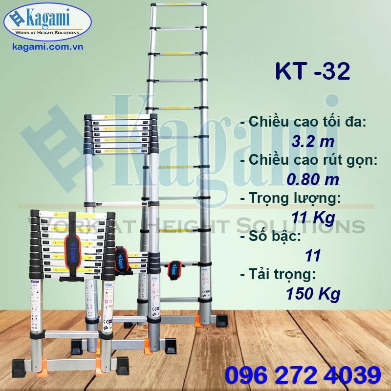 Đại lý thang nhôm rút gọn đơn 3m2 Kagami Nhật Bản KT -32 tại Hồ Chí Minh