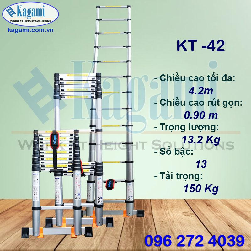 Đại lý thang nhôm rút đơn 4m2 Kagami KT -42 chính hãng trực tiếp tại: Hồ Chí Minh, Cần Thơ, Đà Nẵng