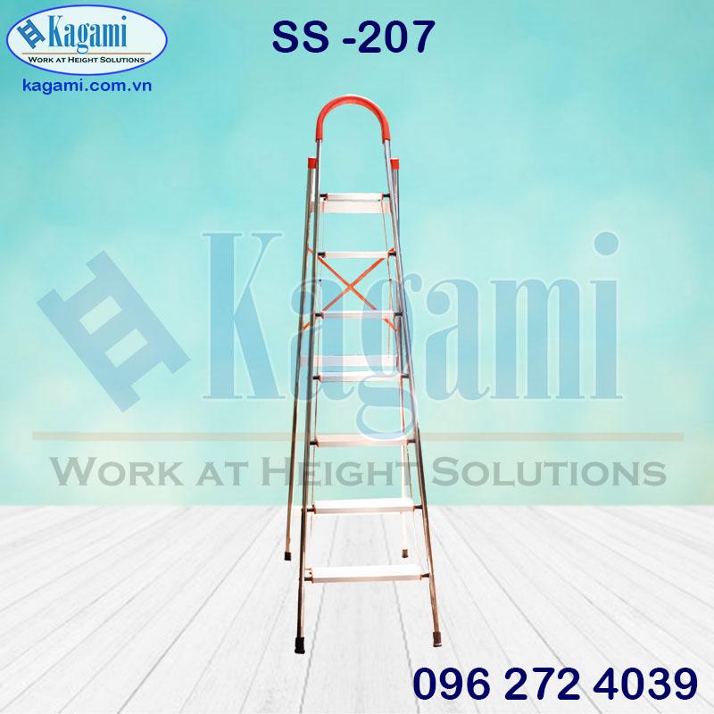 Thang nhôm ghế tay vịn 7 bậc thân inox 1m75 bảng nhôm Kagami SS -207 chính hãng
