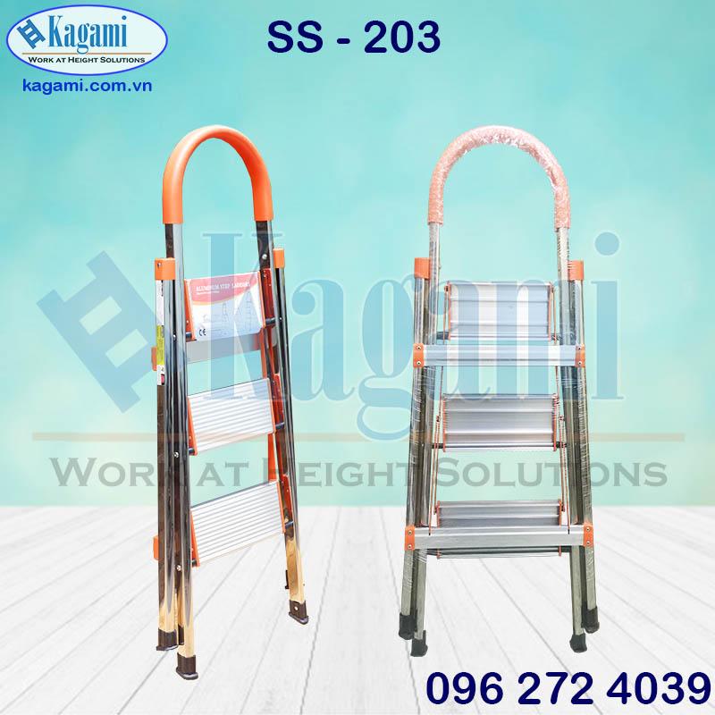 Đại lý thang nhôm ghế tay vịn Inox 3 bậc 0m75 Kagami SS -203 giá tốt tại Hồ Chí Minh