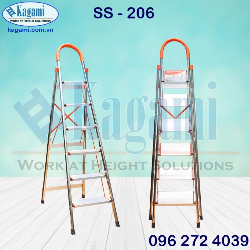 Thang nhôm ghế tay vịn thân inox 1m50 Kagami SS -206 thiết kế 6 bậc bảng nhôm chắc chắn