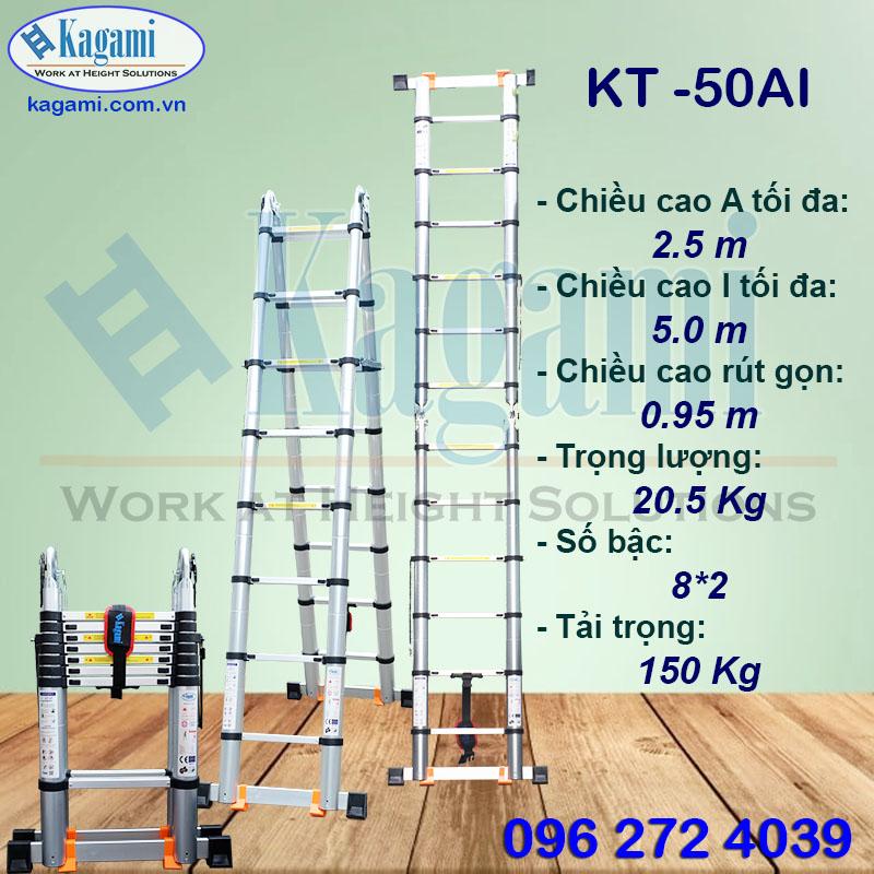 Đại lý phân phối thang nhôm rút gọn đôi chữ A 2m5 Kagami Nhật Bản KT -50AI (5m) chính hãng