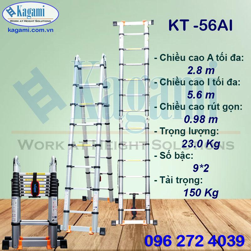 Đại lý phân phối thang nhôm rút gọn đôi chữ A 2m8 Kagami Nhật Bản KT -56AI (5m6) chính hãng giá tốt