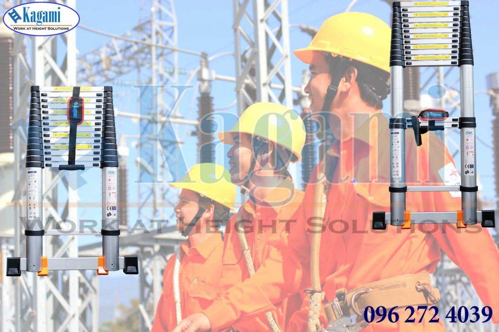 thang nhôm rút điện lực Kagami cao cấp đến 5m
