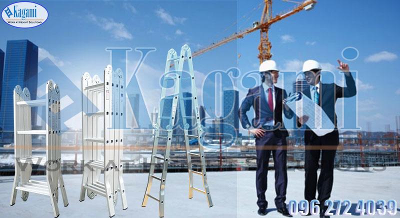 Công dụng thang nhôm gấp xếp 4 đoạn 5m7 chữ M chân duỗi Kagami KT -57D Nhật Bản