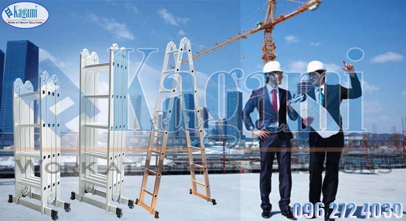 thang nhôm gấp xếp 4 đoạn chữ M 5m7 Kagami Nhật Bản KT -57M chính hãng giá tốt