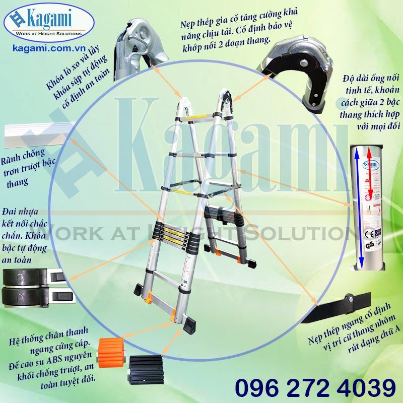 Thang nhôm hỗ trợ độ cao làm việc an toàn và chắc chắn