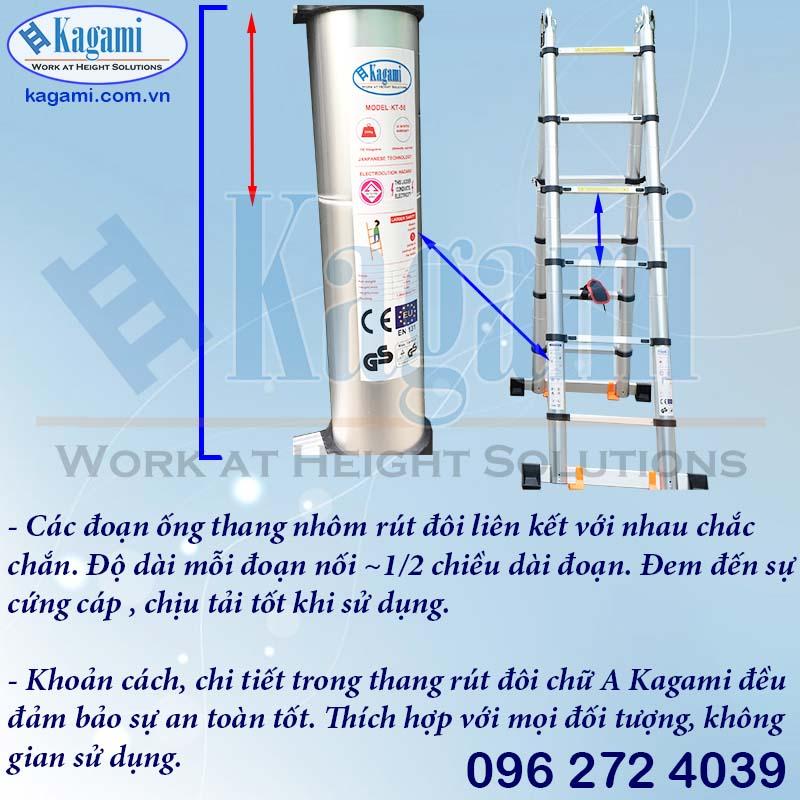 Cấu tạo ống luồn ống thân thang nhôm rút đôi Kagami KT -44AI A=2.2m I=4.4m