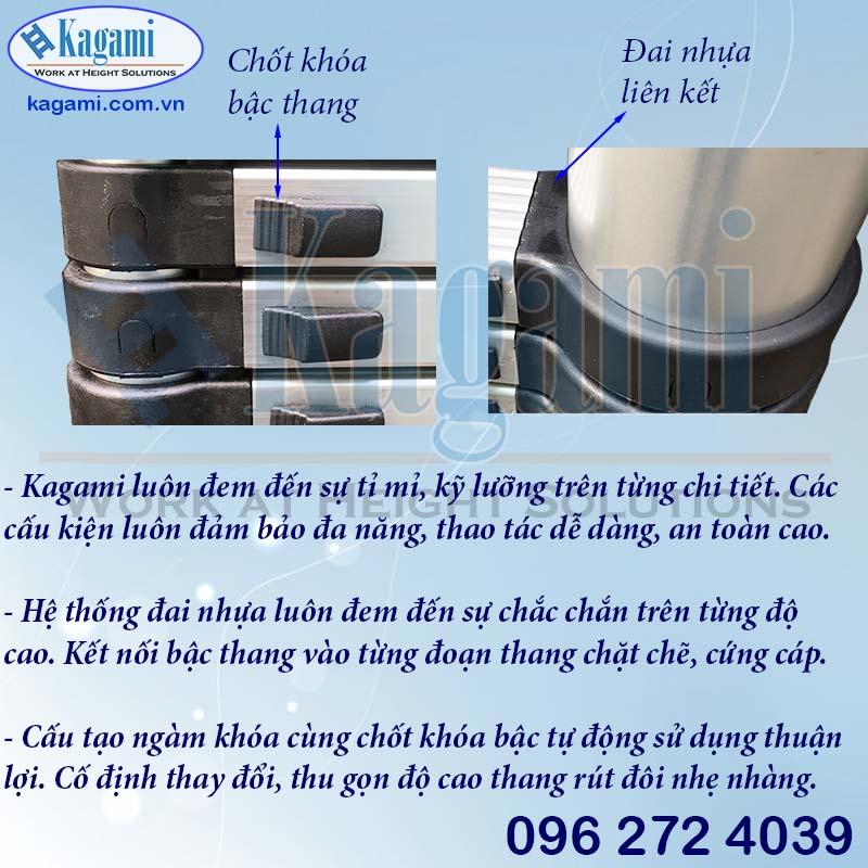 Đai nhựa và chốt khóa bậc tự động thang nhôm rút đôi chữ A 2.2m Kagami Nhật Bản KT -44AI (4.4m)