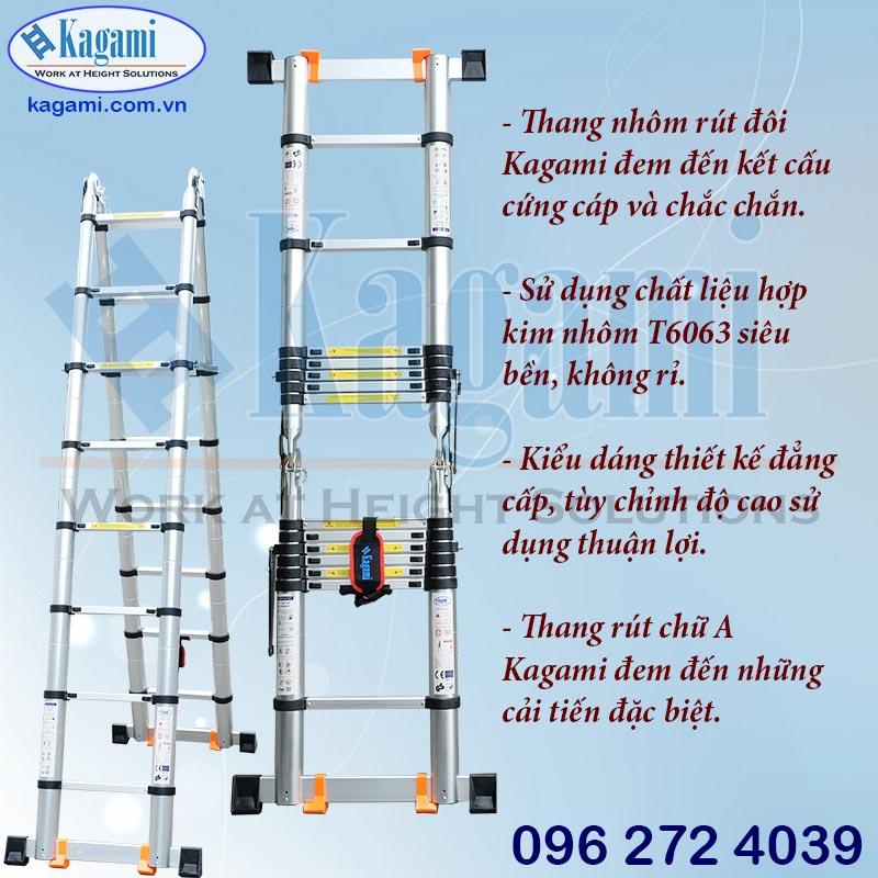 Cấu tạo thang nhôm rút đôi chữ A 2m2 Kagami KT -44AI (4m4)