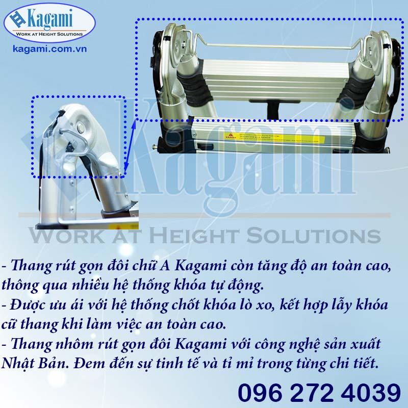 Khóa tự động cùng lẫy khóa sập thang nhôm rút đôi chữ A 2,2m Kagami KT -44AI (4,4m) chuyên dụng