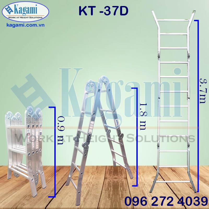 Thông số kỹ thuật thang nhôm gấp xếp chữ M 4 đoạn Kagami KT -37D cao 3m7