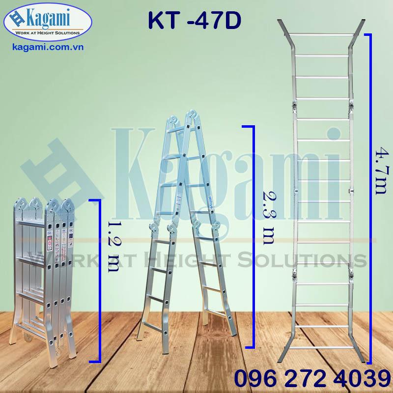 Thông số kỹ thuật thang nhôm đa năng chữ M gấp xếp 4 đoạn 4m7 Kagami chân duỗi KT -47D