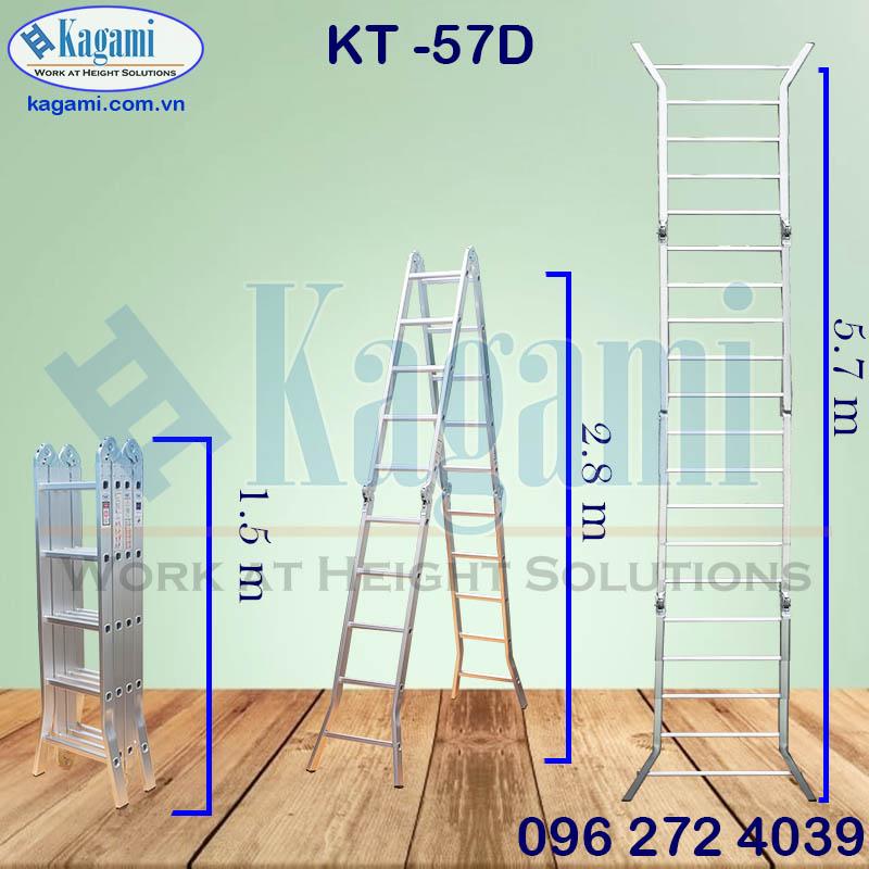 Thông số kỹ thuật thang nhôm gấp xếp 4 đoạn chân duỗi 5m7 Kagami KT -57D chính hãng