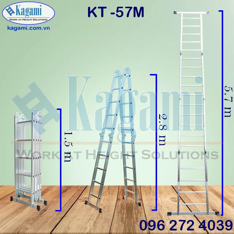 Thông số kỹ thuật thang nhôm gấp xếp khúc chữ M Kagami KT -57M 4 đoạn 5m7