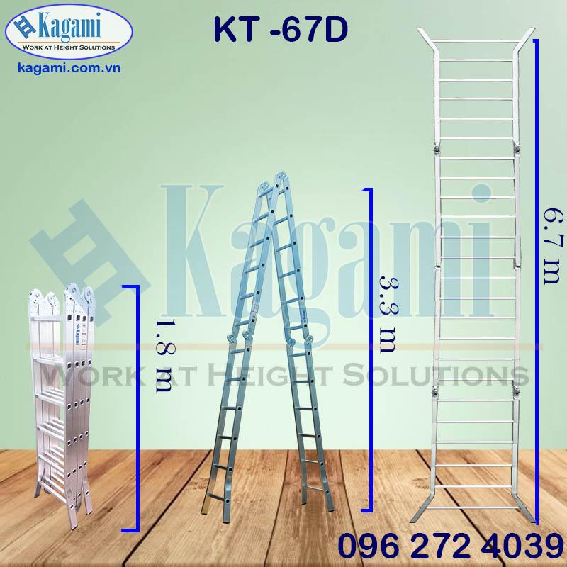 Thông số kỹ thuật thang nhôm gấp xếp 4 đoạn chân duỗi 6m7 chữ M Kagami KT -67D chính hãng