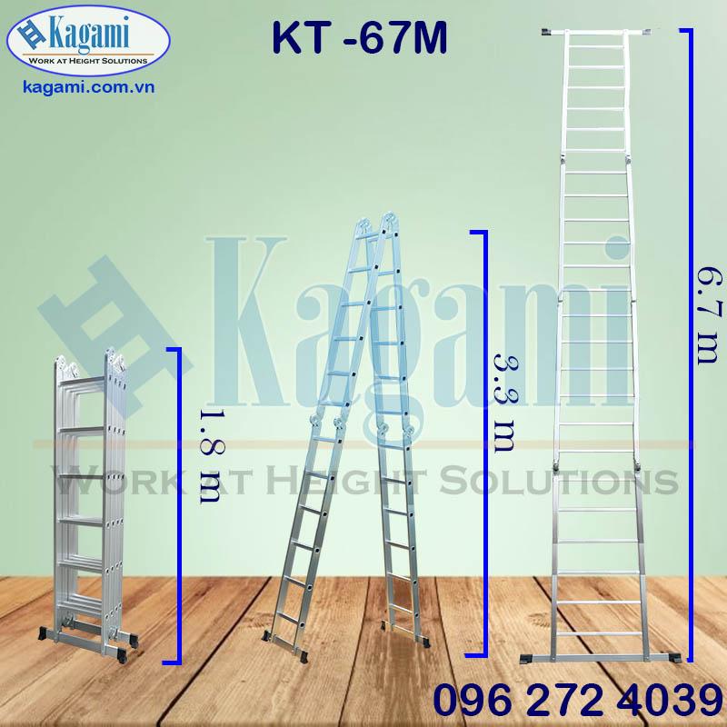 Thông số kỹ thuật thang nhôm gấp xếp chữ M 6m7 Kagami Nhật Bản KT -67M 4 đoạn chân thanh ngang