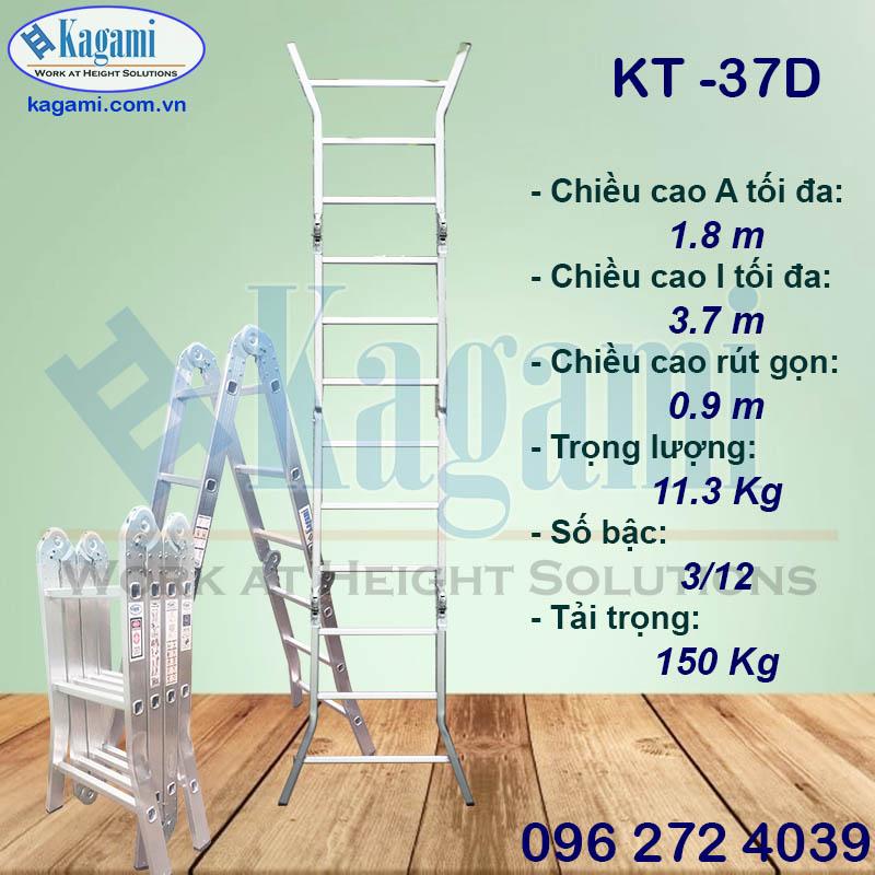 thang nhôm gấp khúc xếp gọn 4 đoạn 3m7 chữ M chân duỗi Kagami KT -37D Nhật Bản