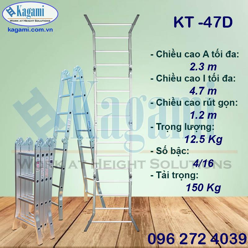 Đại lý thang nhôm gấp xếp 4 đoạn 4m7 chữ M chân duỗi Kagami KT -47D chính hãng giá tốt