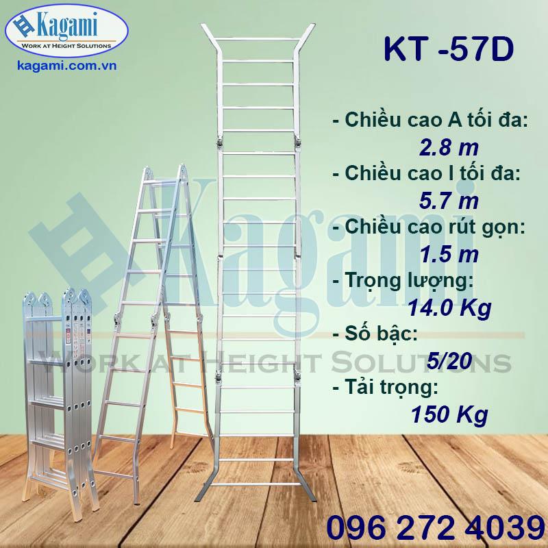 Đại lý thang nhôm gấp xếp chữ M 5m7 4 đoạn chân duỗi Kagami Nhật Bản KT -57D chính hãng giá tốt