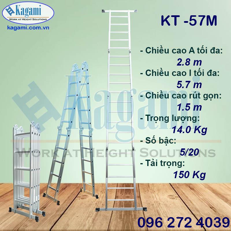Thang nhôm gấp xếp Kagami 4 đoạn KT -57M đa năng chữ M 5m7 luôn được ưu tiên lựa chọn