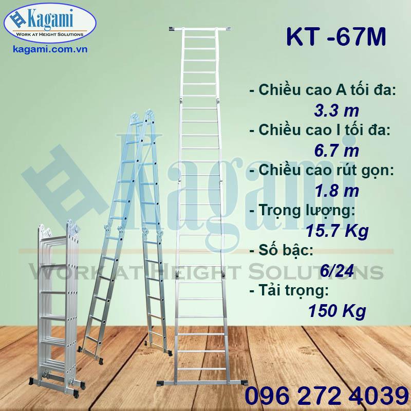 Tổng đại lý thang nhôm gấp xếp 4 đoạn 6m7 Kagami Nhật Bản KT -67M giá tốt tại Hồ Chí Minh