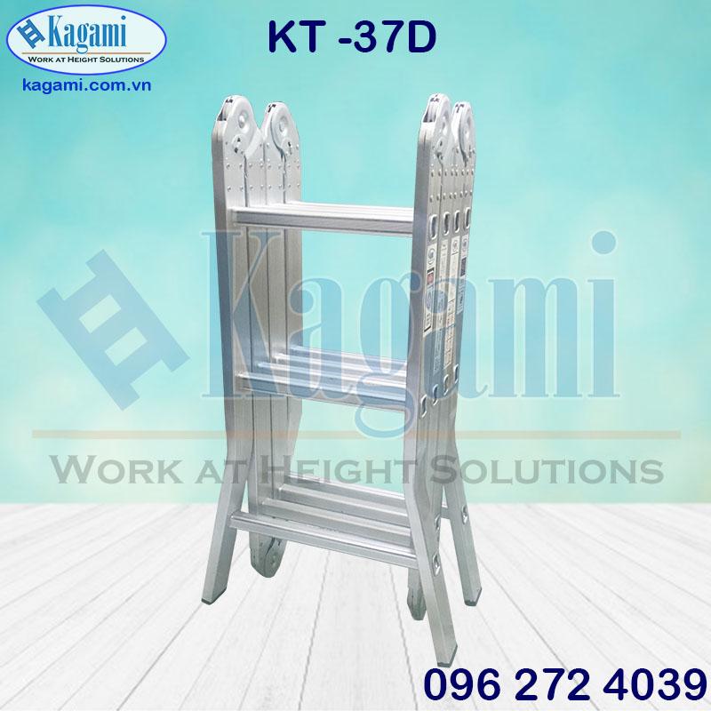 Thang nhôm gấp xếp 4 đoạn chữ M 3.7m Kagami chân duỗi model KT -37D