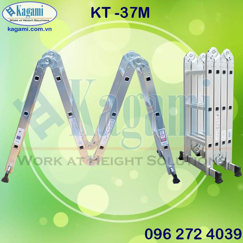 thang nhôm gấp xếp khúc chữ M 4 đoạn 3m7 chân thanh ngang Kagami KT -37M Nhật Bản