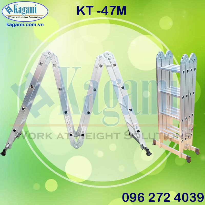Ưu điểm nỗi bậc trong thang nhôm gấp xếp 4 đoạn 4m7 Kagami Nhật Bản KT -47M chữ M chân thanh ngang