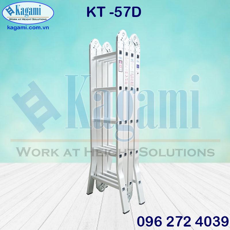 Thang nhôm gấp xếp 4 đoạn 5m7 Kagami KT -57D chữ M chân duỗi đa năng công nghệ Nhật Bản