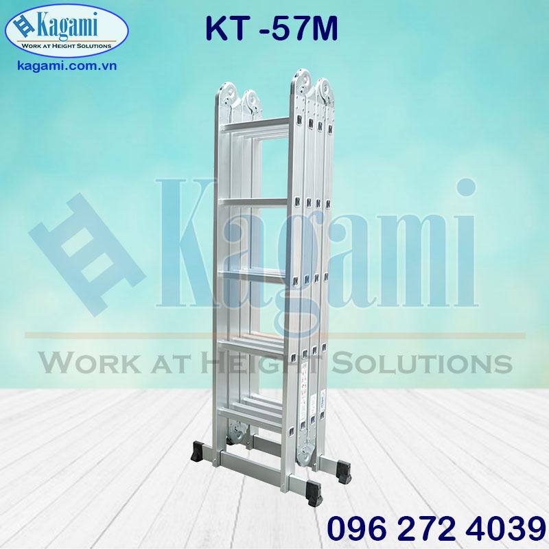Thang nhôm gấp xếp khúc chữ M 4 đoạn cao 5m7 Kagami KT -57M chân thanh ngang