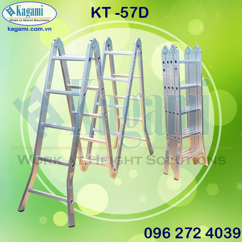 thang nhôm gấp chữ M xếp gọn 4 đoạn đa năng 5m7 Kagami Nhật Bản KT -57D chân duỗi