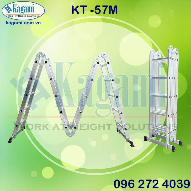 Cấu tạo thang nhôm gấp xếp 4 đoạn 5m7 Kagami KT -57M chân thanh ngang chữ M Nhật Bản