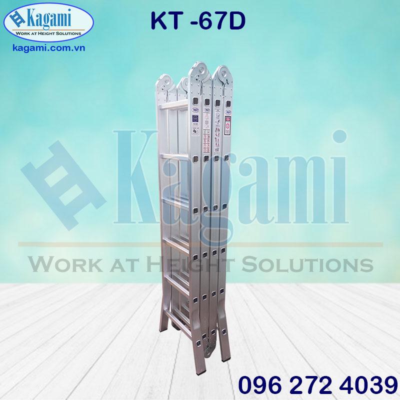 Kết cấu thang nhôm gấp xếp 4 đoạn 6m7 chữ M chân duỗi Kagami Nhật Bản KT -67D giá tốt