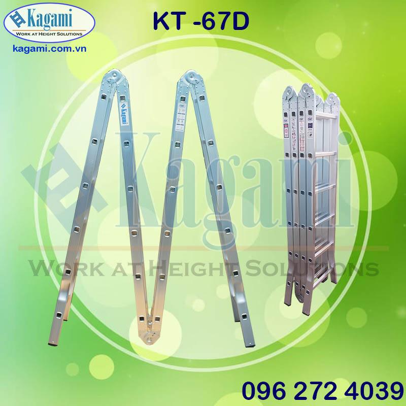 Thang nhôm gấp xếp 4 đoạn 6m7 Kagami KT -67D chân duỗi chữ M đa năng sự lựa chọn tối ưu